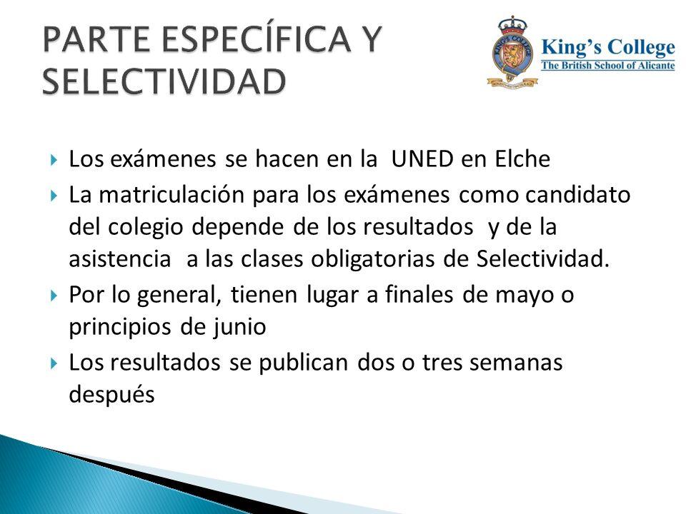 Los exámenes se hacen en la UNED en Elche La matriculación para los exámenes como candidato del colegio depende de los resultados y de la asistencia a