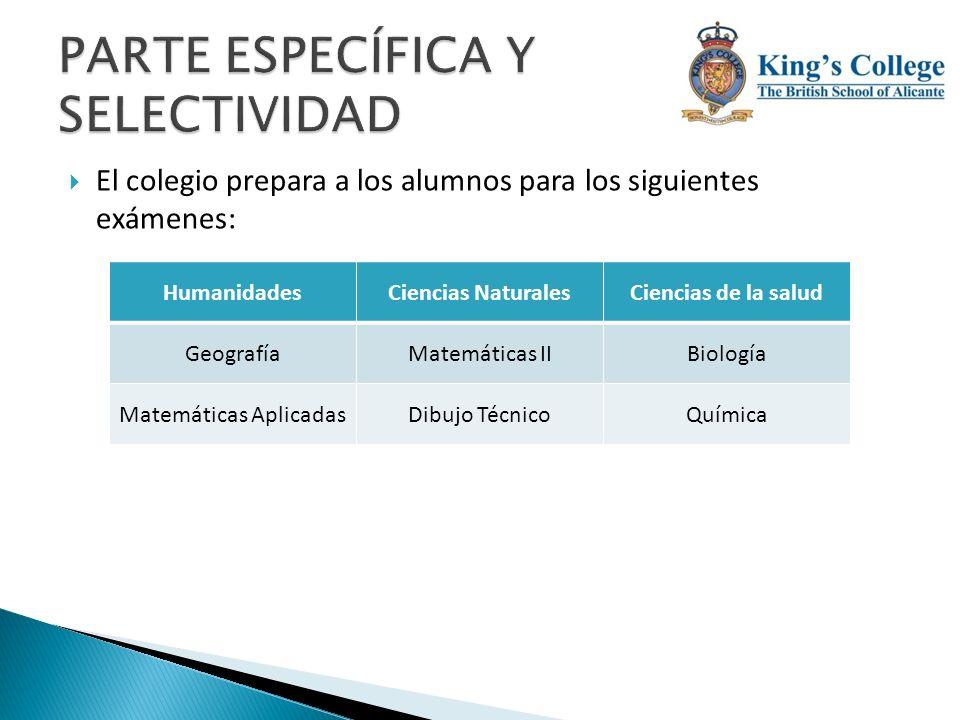 El colegio prepara a los alumnos para los siguientes exámenes: HumanidadesCiencias NaturalesCiencias de la salud GeografíaMatemáticas IIBiología Matem
