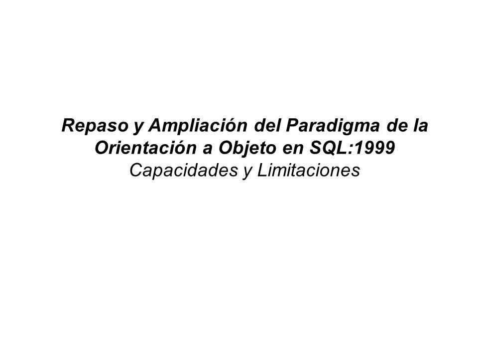 Repaso y Ampliación del Paradigma de la Orientación a Objeto en SQL:1999 Capacidades y Limitaciones