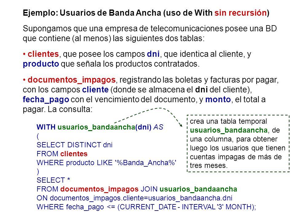 Ejemplo: Usuarios de Banda Ancha (uso de With sin recursión) Supongamos que una empresa de telecomunicaciones posee una BD que contiene (al menos) las