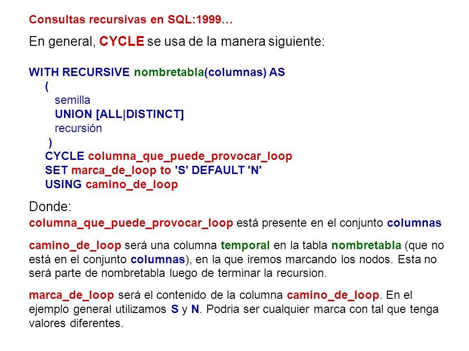 Consultas recursivas en SQL:1999… En general, CYCLE se usa de la manera siguiente: WITH RECURSIVE nombretabla(columnas) AS ( semilla UNION [ALL DISTIN