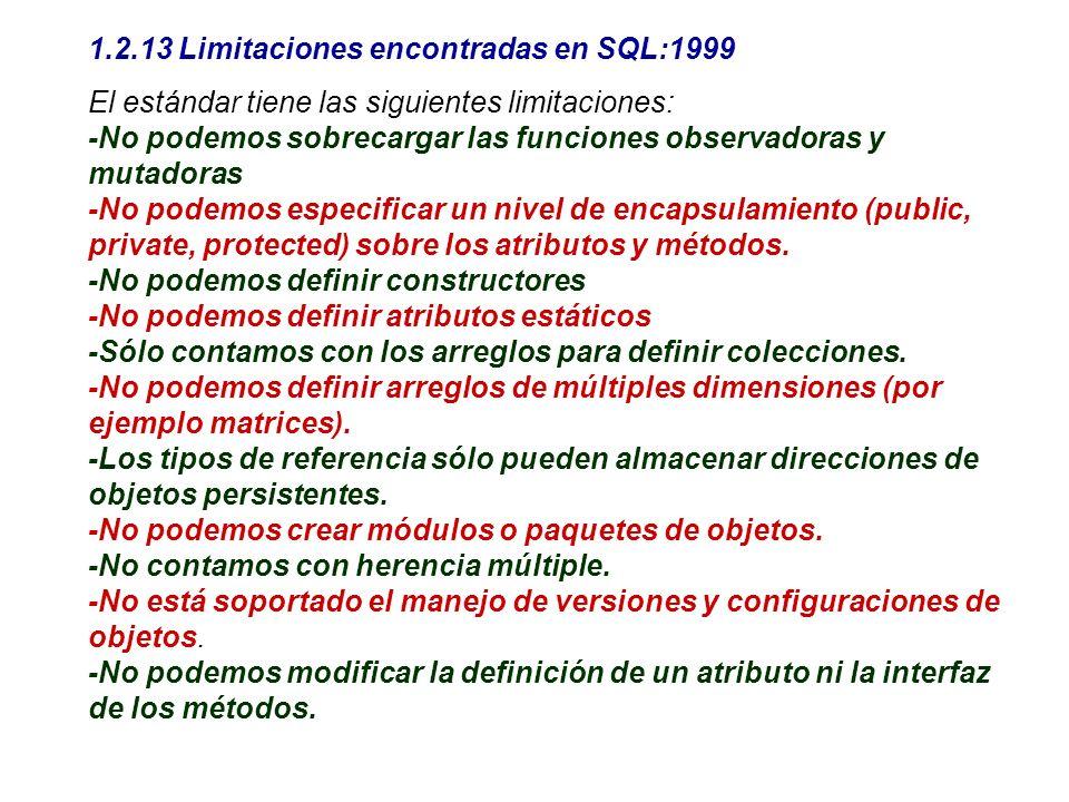 1.2.13 Limitaciones encontradas en SQL:1999 El estándar tiene las siguientes limitaciones: -No podemos sobrecargar las funciones observadoras y mutado