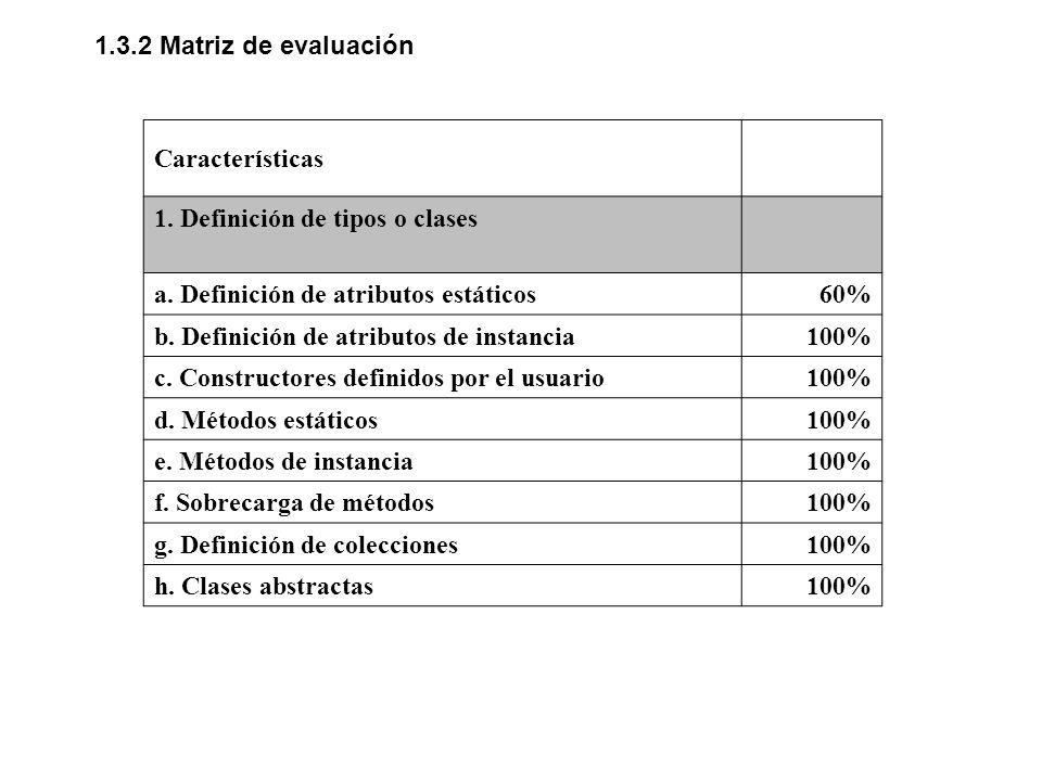 1.3.2 Matriz de evaluación Características 1. Definición de tipos o clases a. Definición de atributos estáticos60% b. Definición de atributos de insta