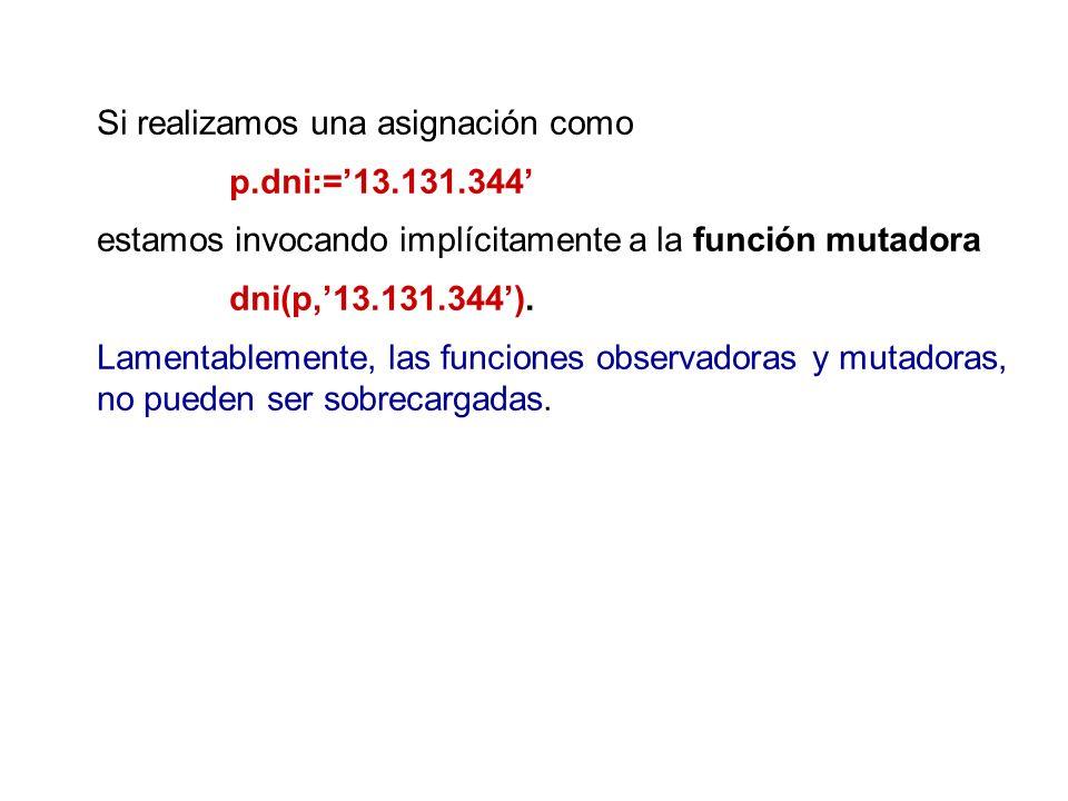 Si realizamos una asignación como p.dni:=13.131.344 estamos invocando implícitamente a la función mutadora dni(p,13.131.344). Lamentablemente, las fun