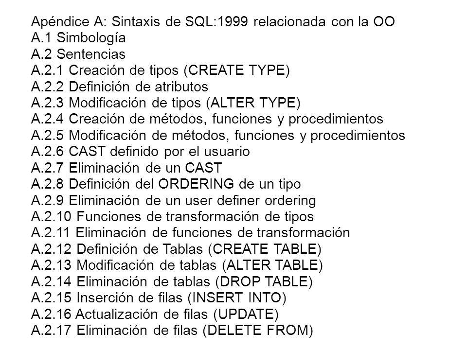 Apéndice A: Sintaxis de SQL:1999 relacionada con la OO A.1 Simbología A.2 Sentencias A.2.1 Creación de tipos (CREATE TYPE) A.2.2 Definición de atribut
