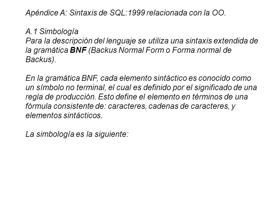 Apéndice A: Sintaxis de SQL:1999 relacionada con la OO. A.1 Simbología Para la descripción del lenguaje se utiliza una sintaxis extendida de la gramát