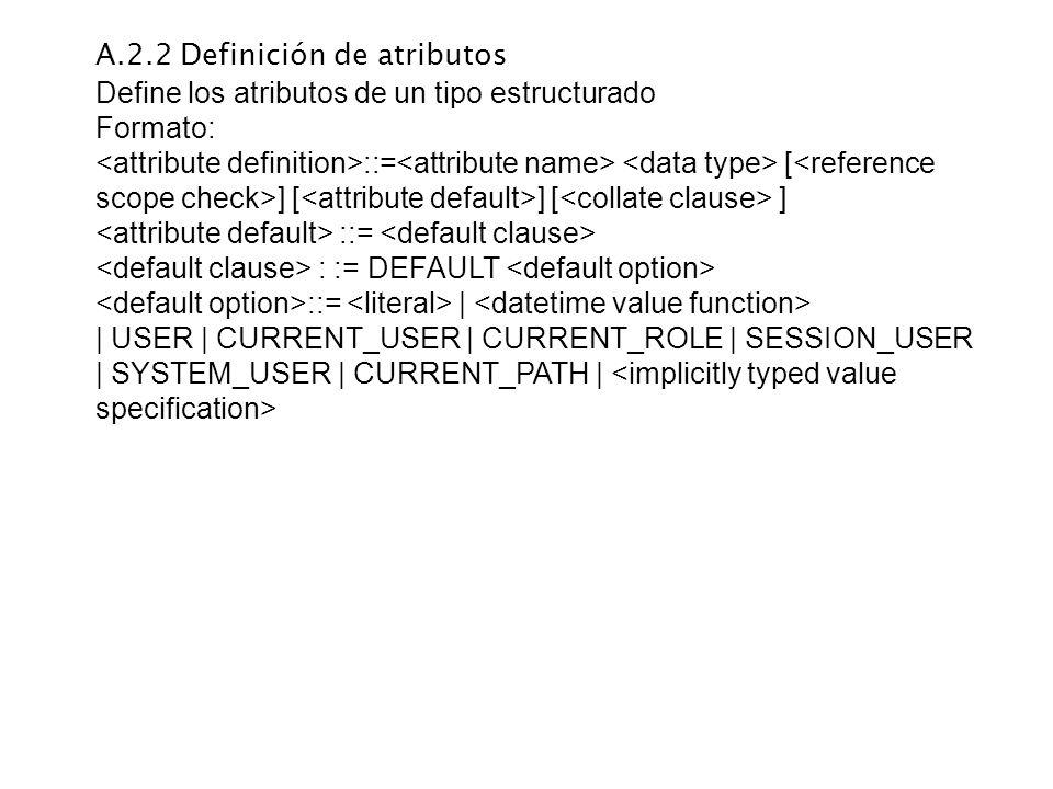 A.2.2 Definición de atributos Define los atributos de un tipo estructurado Formato: ::= [ ] [ ] [ ] ::= : := DEFAULT ::=     USER   CURRENT_USER   CUR