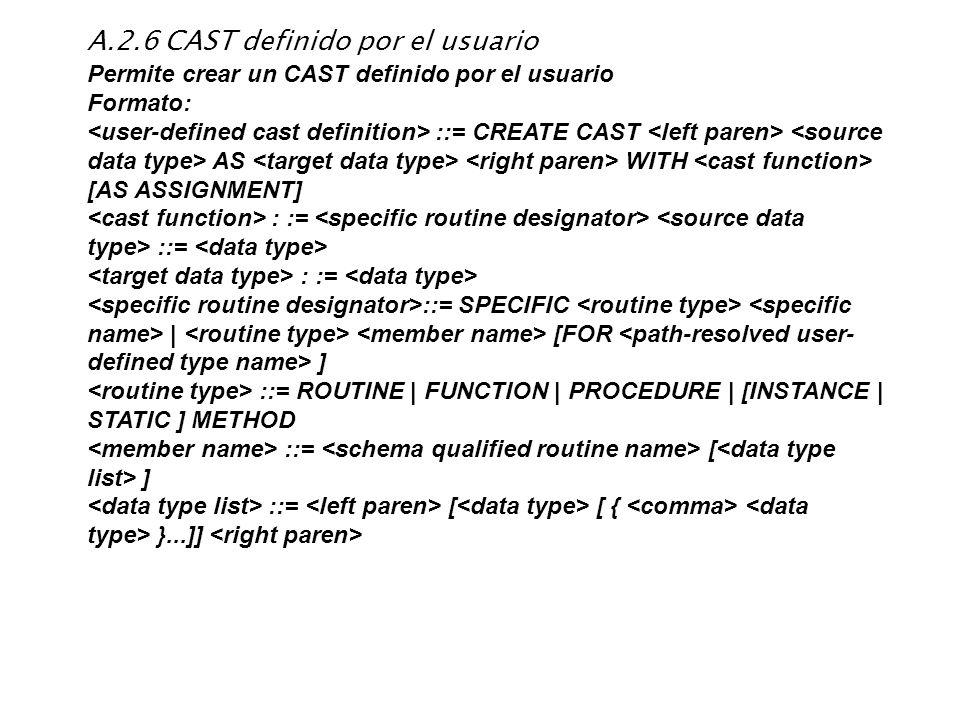 A.2.6 CAST definido por el usuario Permite crear un CAST definido por el usuario Formato: ::= CREATE CAST AS WITH [AS ASSIGNMENT] : := ::= : := ::= SP
