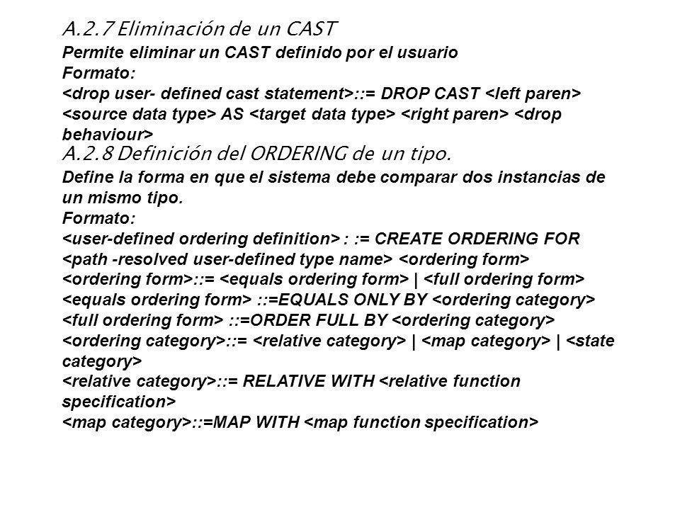 A.2.7 Eliminación de un CAST Permite eliminar un CAST definido por el usuario Formato: ::= DROP CAST AS A.2.8 Definición del ORDERING de un tipo. Defi