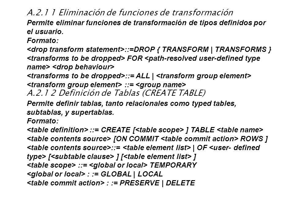A.2.1 1 Eliminación de funciones de transformación Permite eliminar funciones de transformación de tipos definidos por el usuario. Formato: ::=DROP {