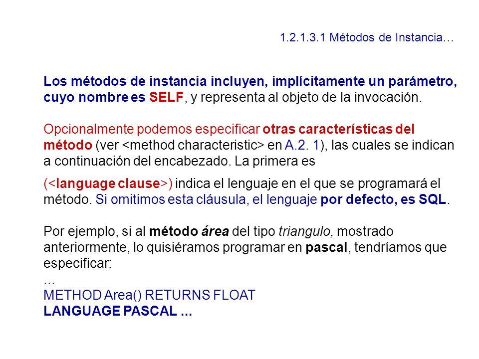1.2.1.3.1 Métodos de Instancia… Los métodos de instancia incluyen, implícitamente un parámetro, cuyo nombre es SELF, y representa al objeto de la invo