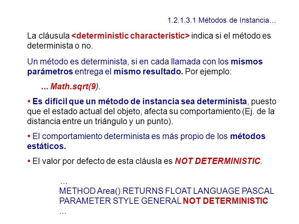 1.2.1.3.1 Métodos de Instancia… La cláusula indica si el método es determinista o no. Un método es determinista, si en cada llamada con los mismos par