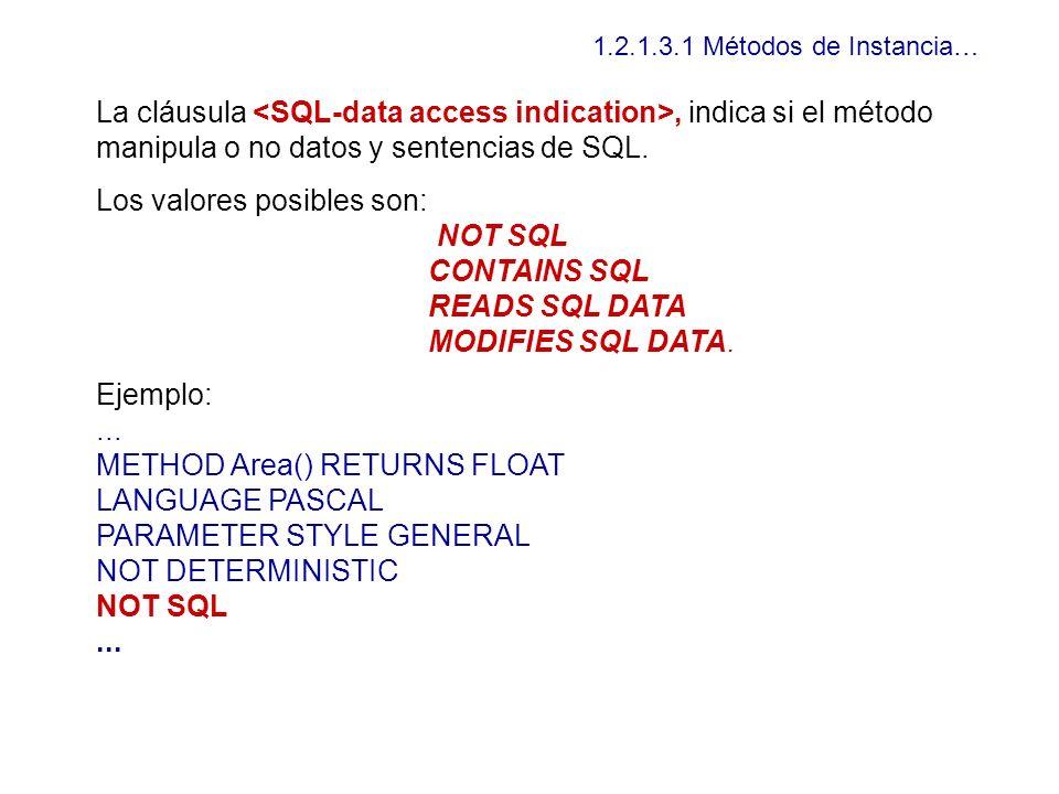 1.2.1.3.1 Métodos de Instancia… La cláusula, indica si el método manipula o no datos y sentencias de SQL. Los valores posibles son: NOT SQL CONTAINS S