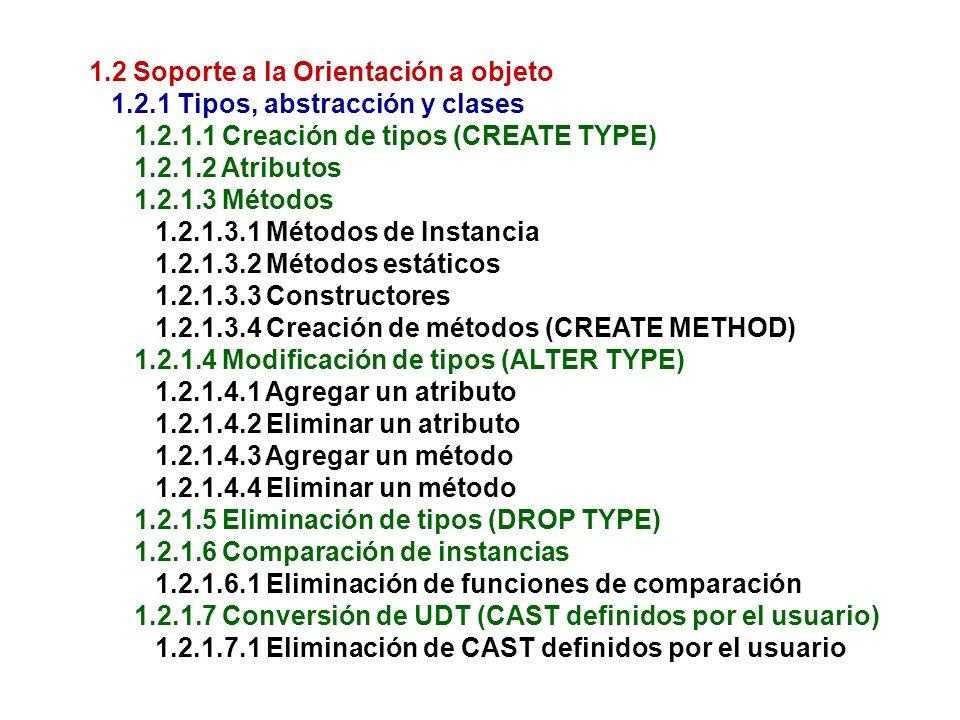 1.2 Soporte a la Orientación a objeto 1.2.1 Tipos, abstracción y clases 1.2.1.1 Creación de tipos (CREATE TYPE) 1.2.1.2 Atributos 1.2.1.3 Métodos 1.2.