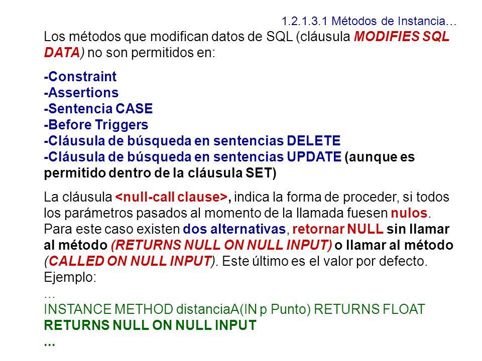 1.2.1.3.1 Métodos de Instancia… Los métodos que modifican datos de SQL (cláusula MODIFIES SQL DATA) no son permitidos en: -Constraint -Assertions -Sen