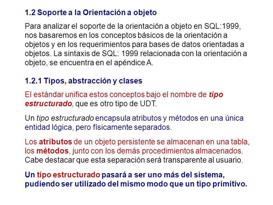 1.2 Soporte a la Orientación a objeto Para analizar el soporte de la orientación a objeto en SQL:1999, nos basaremos en los conceptos básicos de la or