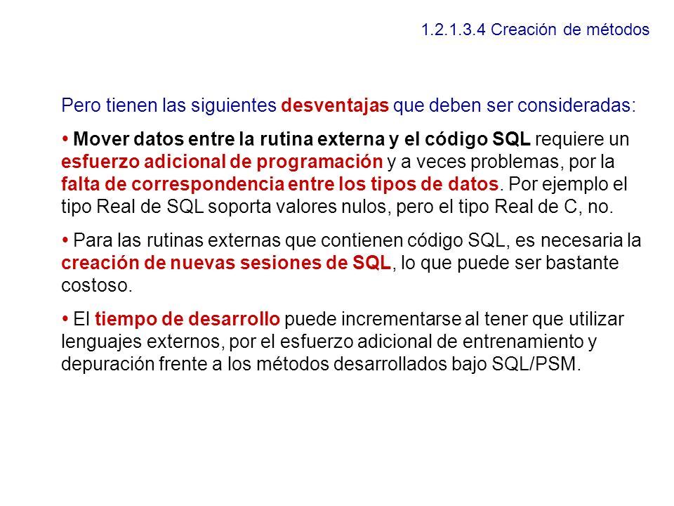 1.2.1.3.4 Creación de métodos Pero tienen las siguientes desventajas que deben ser consideradas: Mover datos entre la rutina externa y el código SQL r