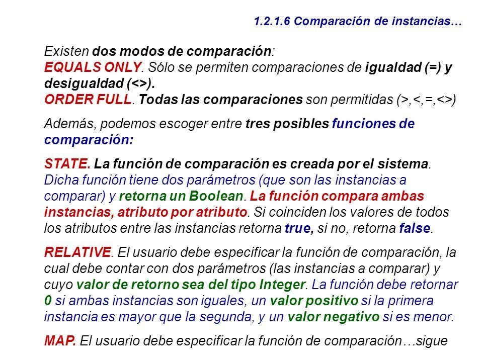 1.2.1.6 Comparación de instancias… Existen dos modos de comparación: EQUALS ONLY. Sólo se permiten comparaciones de igualdad (=) y desigualdad (<>). O