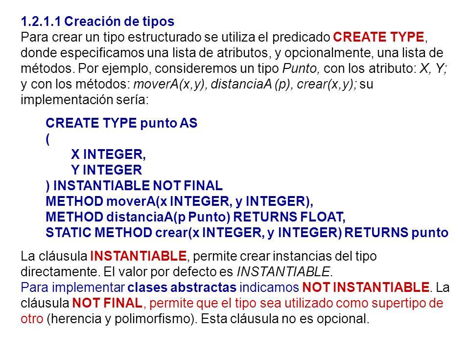1.2.1.1 Creación de tipos Para crear un tipo estructurado se utiliza el predicado CREATE TYPE, donde especificamos una lista de atributos, y opcionalm
