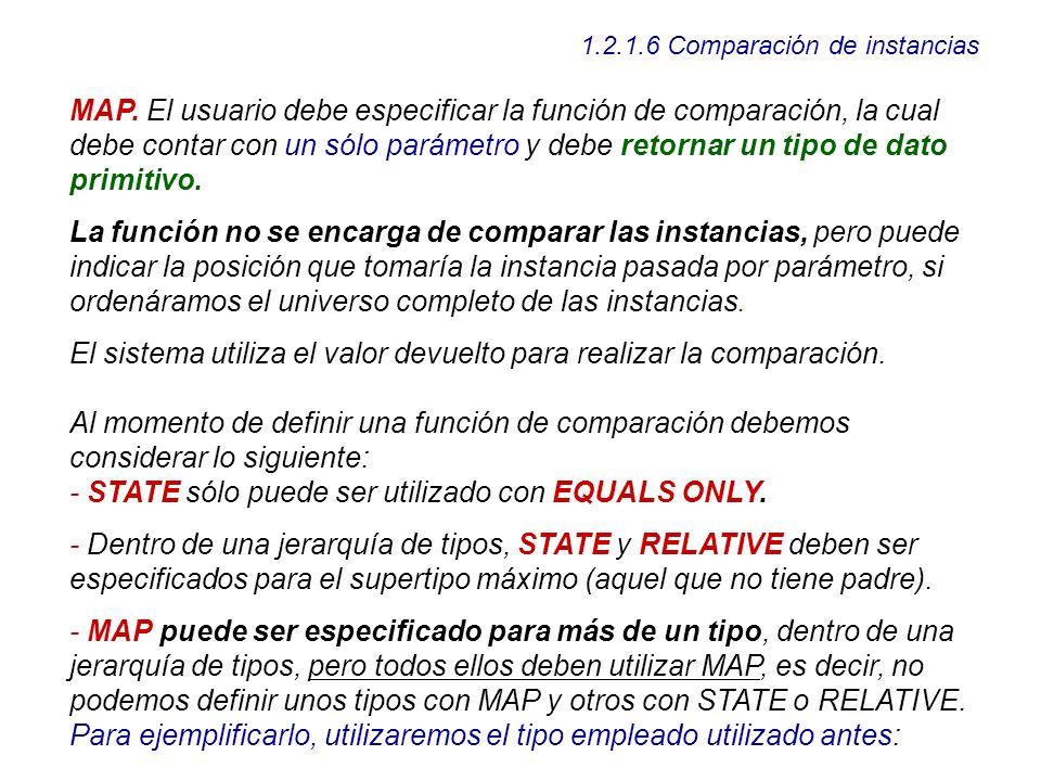 1.2.1.6 Comparación de instancias MAP. El usuario debe especificar la función de comparación, la cual debe contar con un sólo parámetro y debe retorna