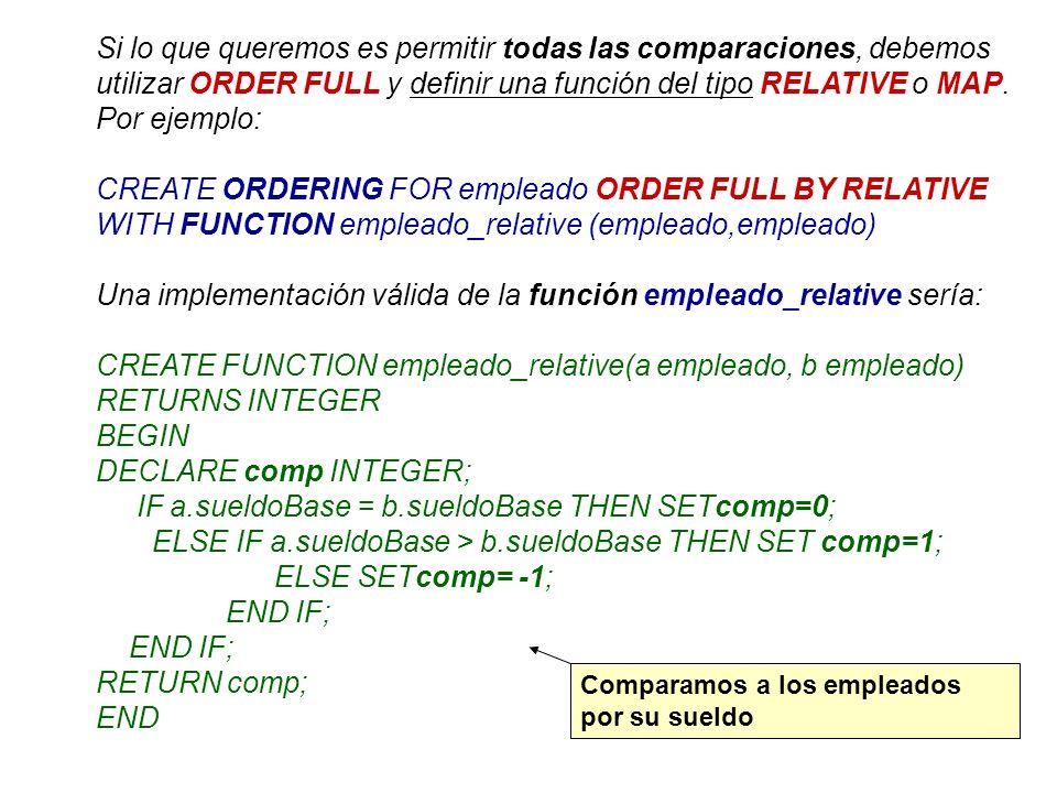 Si lo que queremos es permitir todas las comparaciones, debemos utilizar ORDER FULL y definir una función del tipo RELATIVE o MAP. Por ejemplo: CREATE