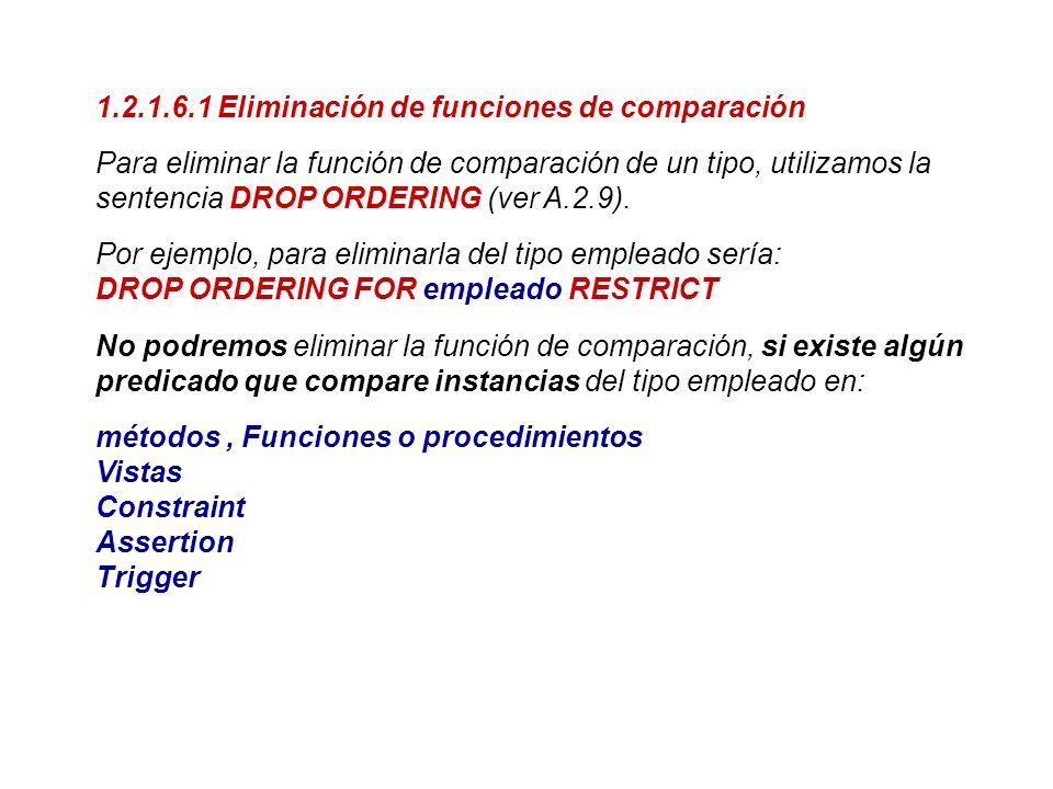 1.2.1.6.1 Eliminación de funciones de comparación Para eliminar la función de comparación de un tipo, utilizamos la sentencia DROP ORDERING (ver A.2.9