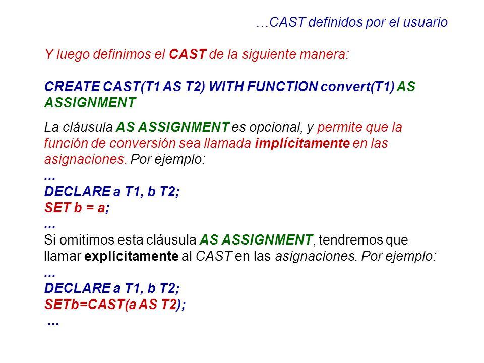 …CAST definidos por el usuario Y luego definimos el CAST de la siguiente manera: CREATE CAST(T1 AS T2) WITH FUNCTION convert(T1) AS ASSIGNMENT La cláu