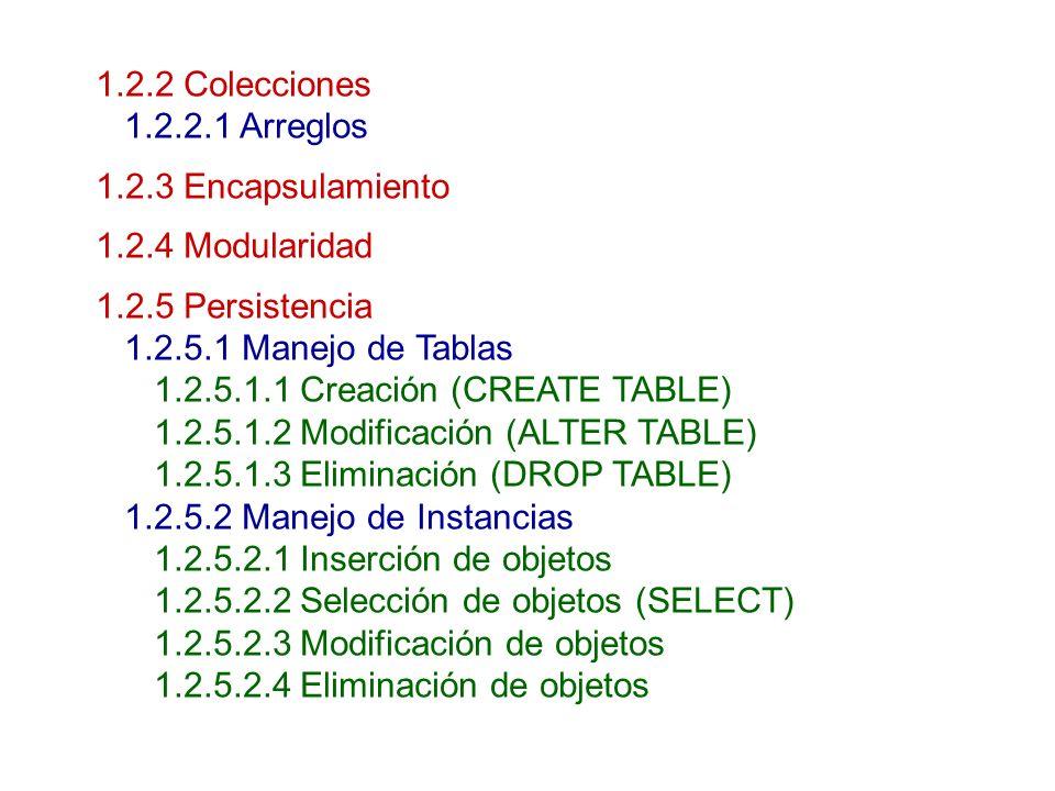 1.2.2 Colecciones 1.2.2.1 Arreglos 1.2.3 Encapsulamiento 1.2.4 Modularidad 1.2.5 Persistencia 1.2.5.1 Manejo de Tablas 1.2.5.1.1 Creación (CREATE TABL
