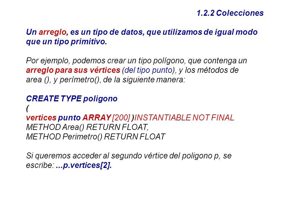 1.2.2 Colecciones Un arreglo, es un tipo de datos, que utilizamos de igual modo que un tipo primitivo. Por ejemplo, podemos crear un tipo polígono, qu