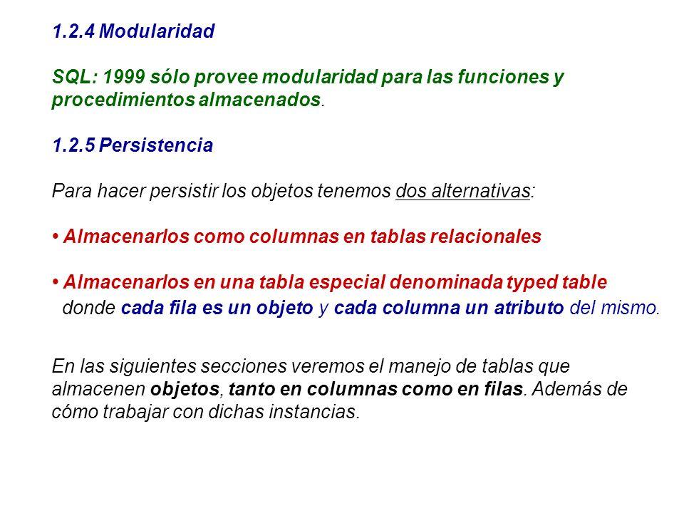 1.2.4 Modularidad SQL: 1999 sólo provee modularidad para las funciones y procedimientos almacenados. 1.2.5 Persistencia Para hacer persistir los objet