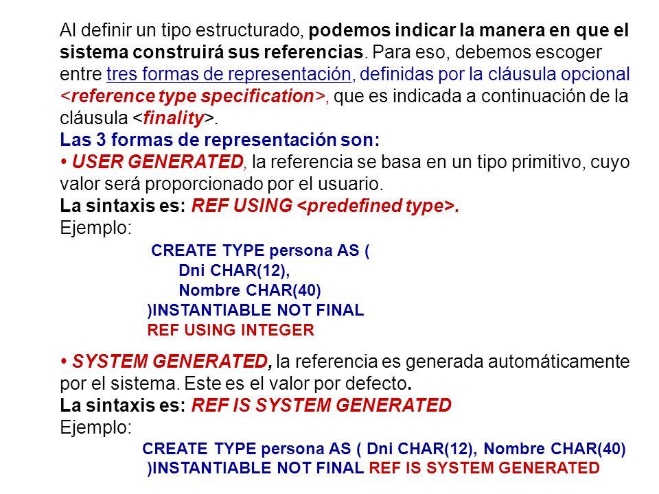 Al definir un tipo estructurado, podemos indicar la manera en que el sistema construirá sus referencias. Para eso, debemos escoger entre tres formas d