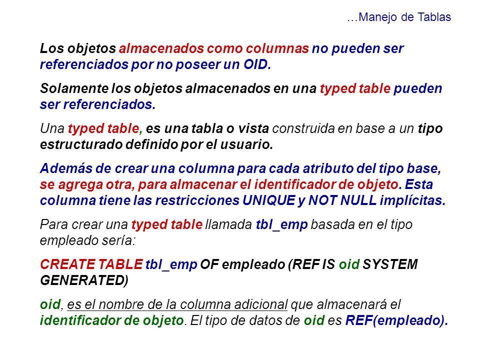 …Manejo de Tablas Los objetos almacenados como columnas no pueden ser referenciados por no poseer un OID. Solamente los objetos almacenados en una typ
