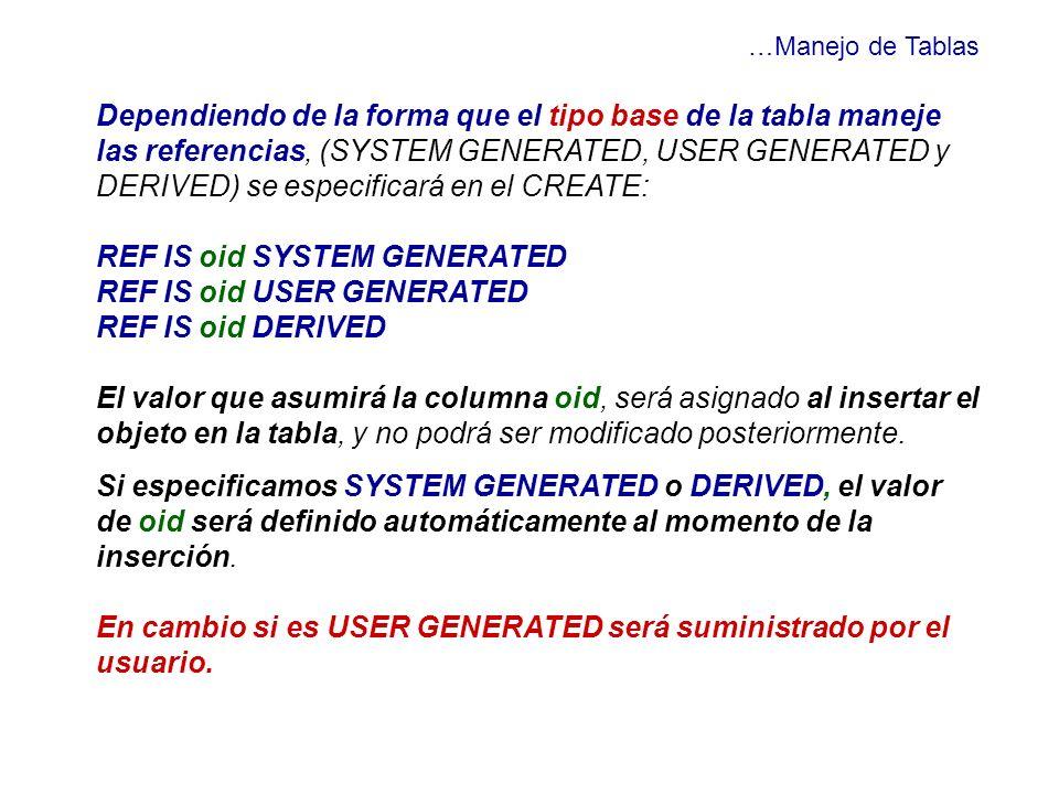 …Manejo de Tablas Dependiendo de la forma que el tipo base de la tabla maneje las referencias, (SYSTEM GENERATED, USER GENERATED y DERIVED) se especif
