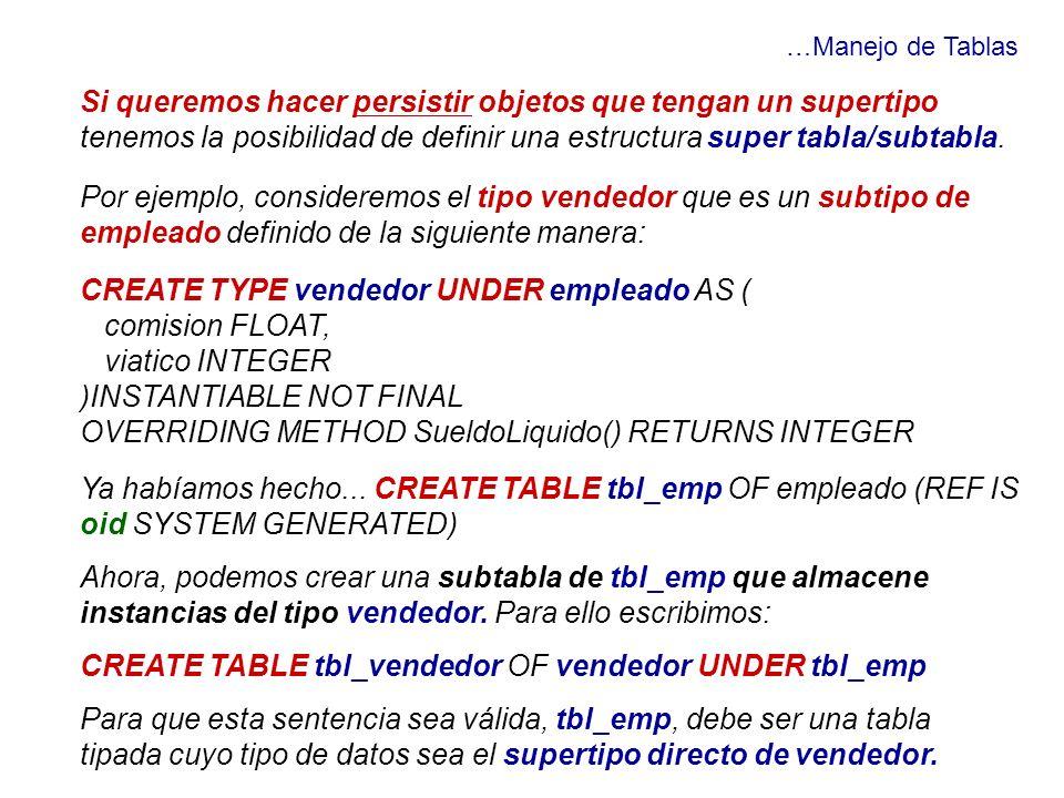 …Manejo de Tablas Si queremos hacer persistir objetos que tengan un supertipo tenemos la posibilidad de definir una estructura super tabla/subtabla. P