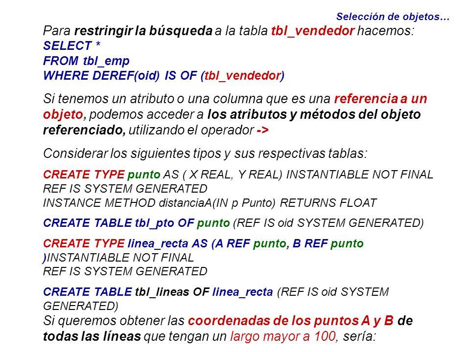 Selección de objetos… Para restringir la búsqueda a la tabla tbl_vendedor hacemos: SELECT * FROM tbl_emp WHERE DEREF(oid) IS OF (tbl_vendedor) Si tene