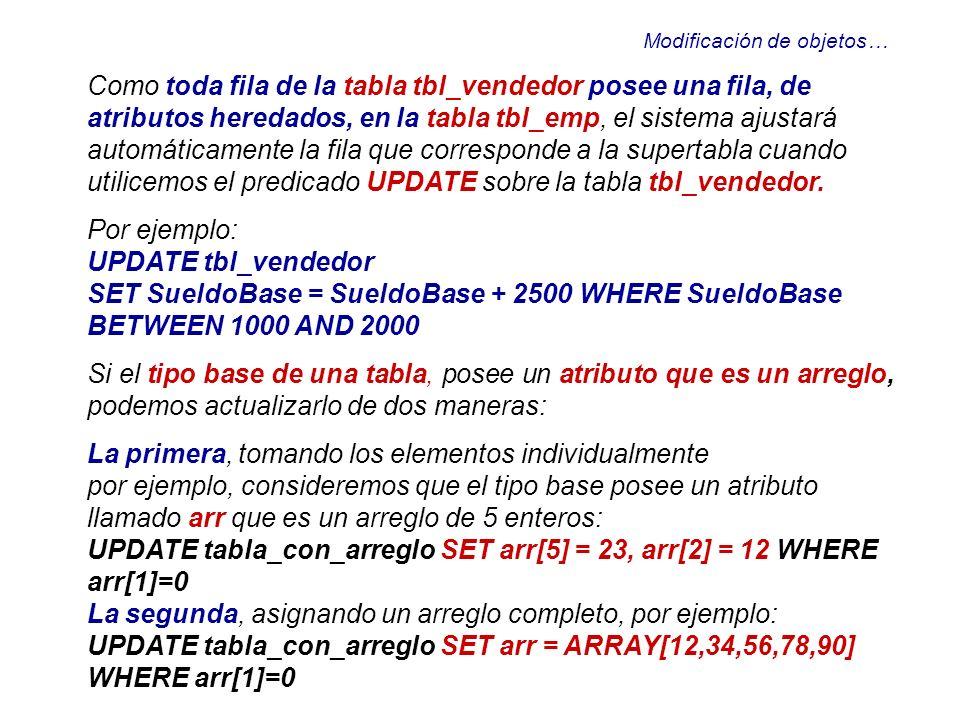 Modificación de objetos… Como toda fila de la tabla tbl_vendedor posee una fila, de atributos heredados, en la tabla tbl_emp, el sistema ajustará auto