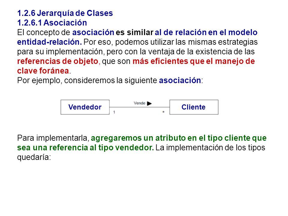 1.2.6 Jerarquía de Clases 1.2.6.1 Asociación El concepto de asociación es similar al de relación en el modelo entidad-relación. Por eso, podemos utili