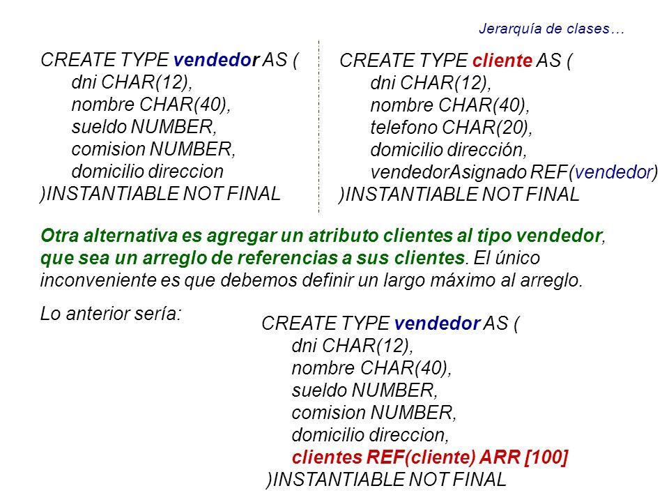 Jerarquía de clases… CREATE TYPE vendedor AS ( dni CHAR(12), nombre CHAR(40), sueldo NUMBER, comision NUMBER, domicilio direccion )INSTANTIABLE NOT FI