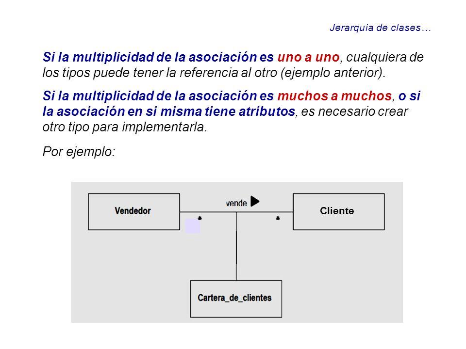 Jerarquía de clases… Si la multiplicidad de la asociación es uno a uno, cualquiera de los tipos puede tener la referencia al otro (ejemplo anterior).