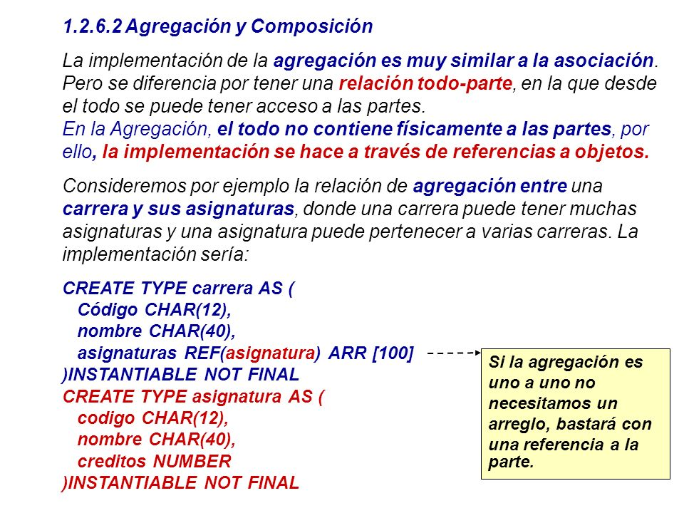 1.2.6.2 Agregación y Composición La implementación de la agregación es muy similar a la asociación. Pero se diferencia por tener una relación todo-par