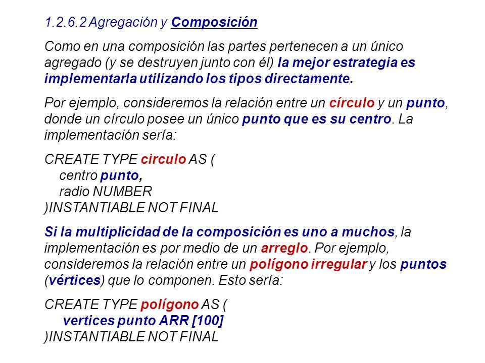 1.2.6.2 Agregación y Composición Como en una composición las partes pertenecen a un único agregado (y se destruyen junto con él) la mejor estrategia e
