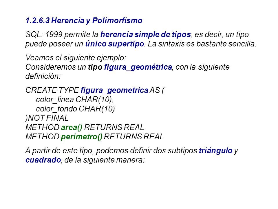1.2.6.3 Herencia y Polimorfismo SQL: 1999 permite la herencia simple de tipos, es decir, un tipo puede poseer un único supertipo. La sintaxis es basta