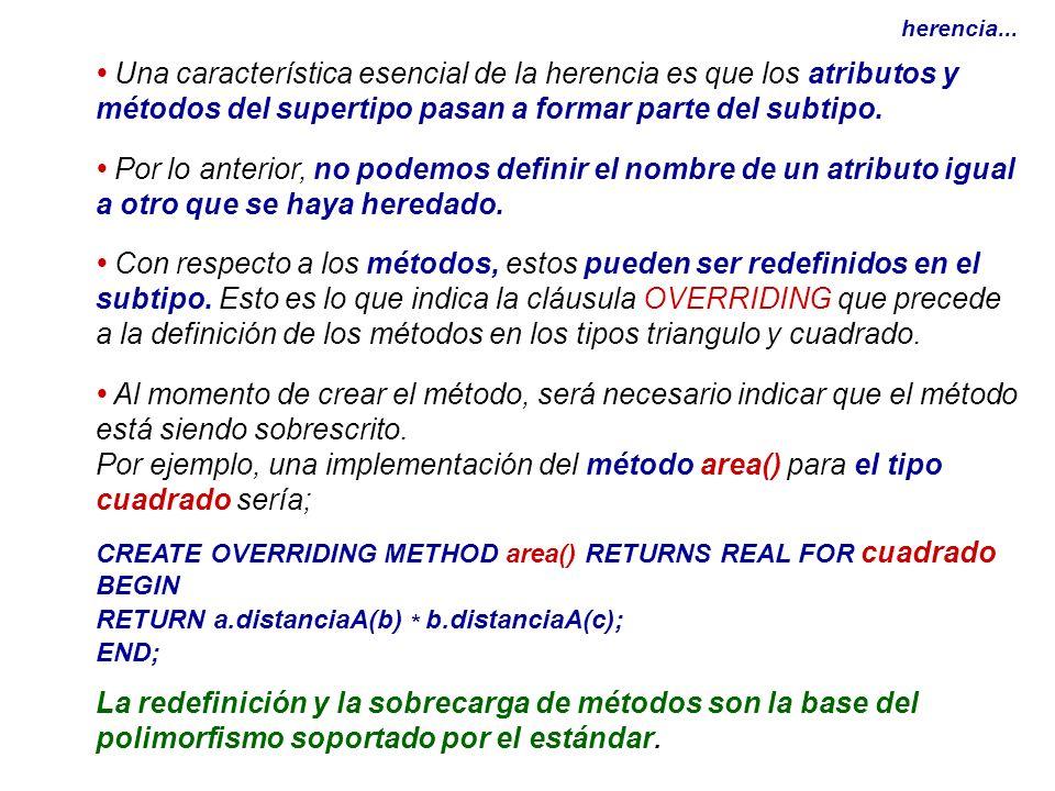 herencia... Una característica esencial de la herencia es que los atributos y métodos del supertipo pasan a formar parte del subtipo. Por lo anterior,