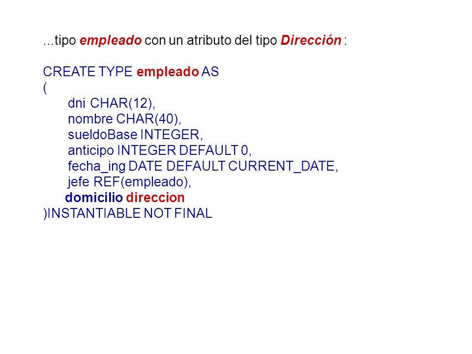 … tipo empleado con un atributo del tipo Dirección : CREATE TYPE empleado AS ( dniCHAR(12), nombre CHAR(40), sueldoBase INTEGER, anticipo INTEGER DEFA