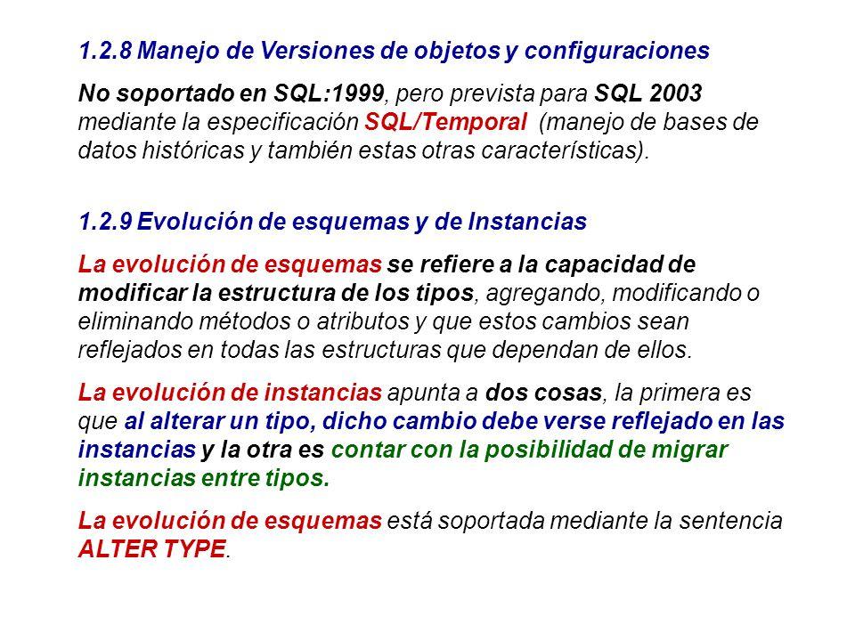 1.2.8 Manejo de Versiones de objetos y configuraciones No soportado en SQL:1999, pero prevista para SQL 2003 mediante la especificación SQL/Temporal (