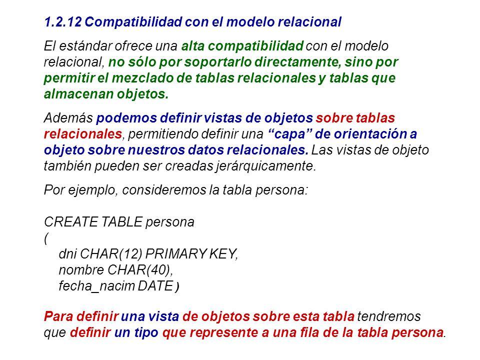 1.2.12 Compatibilidad con el modelo relacional El estándar ofrece una alta compatibilidad con el modelo relacional, no sólo por soportarlo directament