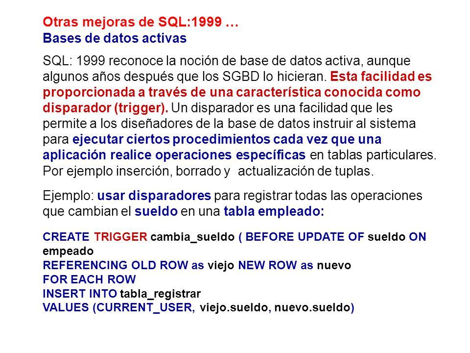 Otras mejoras de SQL:1999 … Bases de datos activas SQL: 1999 reconoce la noción de base de datos activa, aunque algunos años después que los SGBD lo h