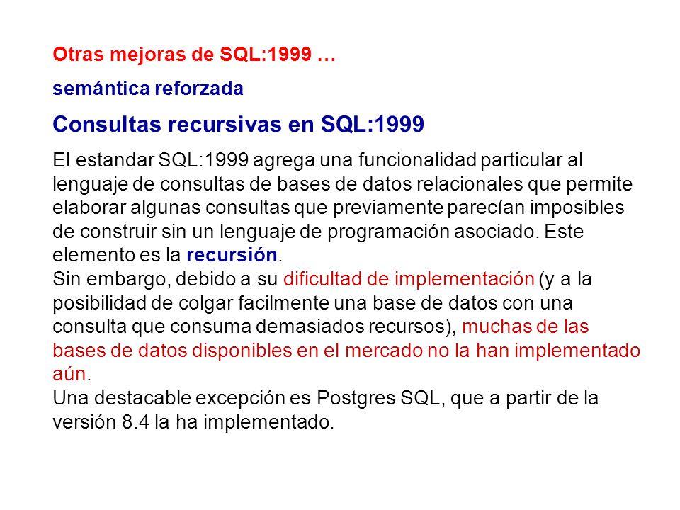 Otras mejoras de SQL:1999 … semántica reforzada Consultas recursivas en SQL:1999 El estandar SQL:1999 agrega una funcionalidad particular al lenguaje