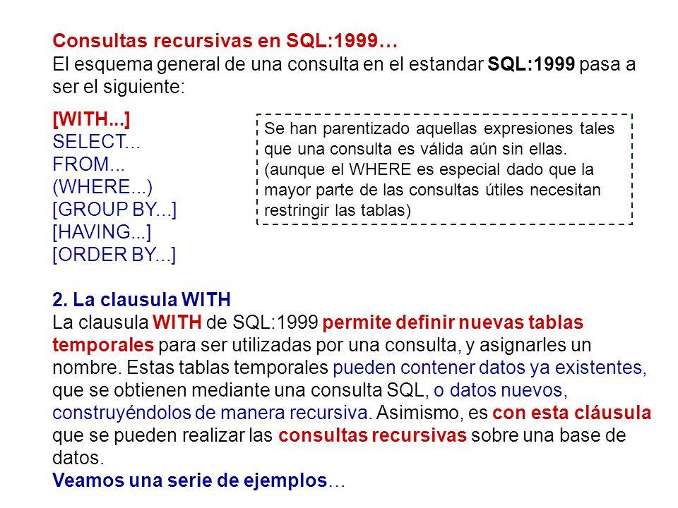 Consultas recursivas en SQL:1999… El esquema general de una consulta en el estandar SQL:1999 pasa a ser el siguiente: [WITH...] SELECT... FROM... (WHE