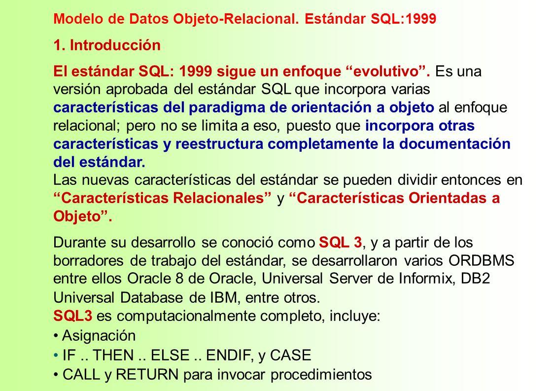 1. Introducción El estándar SQL: 1999 sigue un enfoque evolutivo. Es una versión aprobada del estándar SQL que incorpora varias características del pa